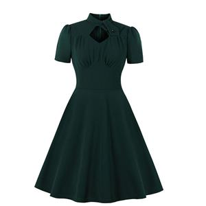 Vintage Stand Collar Dress, Fashion Casual Office Lady Dress, Sexy Party Dress, Retro Party Dresses for Women 1960, Vintage Dresses 1950