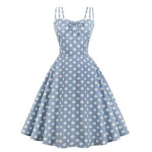 Sexy Light Blue Vintage Strappy Polka Dot Printed Swing Summer Day Dress N18040