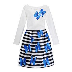 Rose Print Dress, Long Sleeve Dress, Round Collar Dress, Girls Lovely Dress, Vintage Dresses for Girls, Girls Swing Dress, Back Zipper Dress, A-Line Dress, #N15523