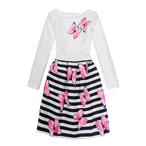 Rose Print Dress, Long Sleeve Dress, Round Collar Dress, Girls Lovely Dress, Vintage Dresses for Girls, Girls Swing Dress, Back Zipper Dress, A-Line Dress, #N15524