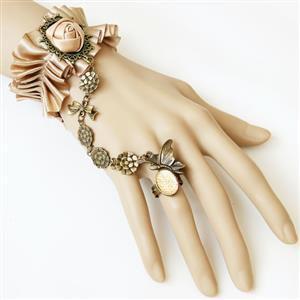 Vintage Bracelet, Gothic Bracelet, Lace Bracelet, Cheap Wristband, Victorian Bracelet, Slave Bracelet, Bracelet with Ring, #J12067