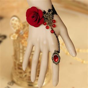 Vintage Bracelet, Gothic Bracelet, Lace Bracelet, Cheap Wristband, Victorian Bracelet, Slave Bracelet, Bracelet with Ring, #J12068