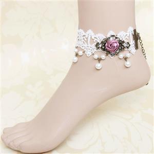 Vintage Style Anklet, New Gothic Anklet, Beaded Anklet, White Lace Anklet, Cheap Anklet, Victorian Anklet, #J12110