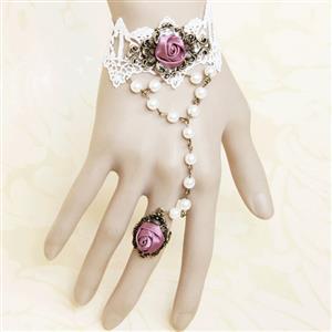 Vintage Bracelet, Gothic Bracelet, Lace Bracelet, Cheap Wristband, Victorian Bracelet, Slave Bracelet, Bracelet with Ring, #J12111