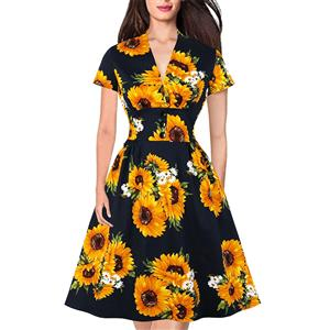 Short Sleeve Dress, Vintage Dress for Women, Fashion Dresses for Women Cocktail Party,Casual Swing Dress, Deep V-neck Swing Dress, 50s Vintage Dresses, Sunflower Pattern Dress,#N19978