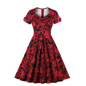 Vintage Red Floral Print Sweetheart Neckline Short Sleeve High Waist A-line Midi Dress N19595