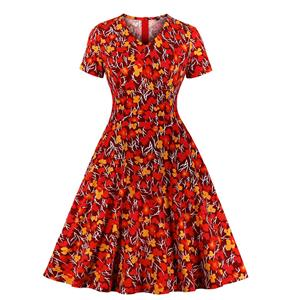 Vintage Floral Print V Neck Short Sleeve High Waist Pocket Party A-line Dress N20031
