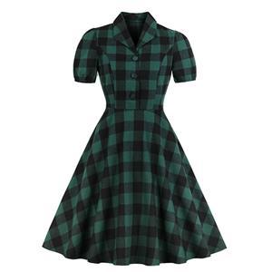 Elegant Checkered Swing Dress, Retro Tartan Dresses for Women 1960, Vintage Dresses 1950