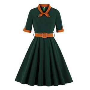 Vintage Lapel Dress, Fashion Casual Office Lady Dress, Sexy Party Dress, Retro Party Dresses for Women 1960, Vintage Dresses 1950