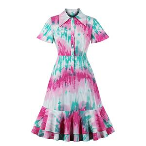 Tie-dye Print Party Dresses, Cute Summer Swing Dress, Contrast Color Tie-dye Print Dresses for Women 1960, Vintage Dresses 1950
