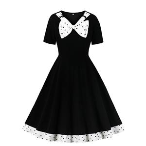 Vintage Black V Neck Bowknot Short Sleeve Cocktail Bridesmaid Stitching Dress N20956