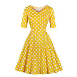 Vintage V Neck Elbow Sleeve Polka Dot Printed A-Line High Waist Dress N17932