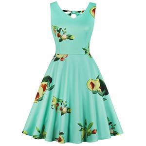 Vintage Dresses for Women, Cocktail Party Dress, Vintage Sleeveless Swing Dresses, A-line Cocktail Party Swing Dresses, Fahion Floral Print Vintage Dress, V Neck Vintage Day Dress, #N17601