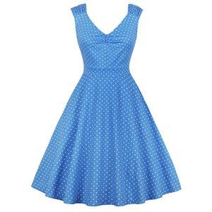 Vintage Dresses for Women, Cocktail Party Dress, Vintage Sleeveless Swing Dresses, A-line Cocktail Party Swing Dresses, Polka Dot Print Vintage Dress, V Neck Vintage Day Dress, #N17420