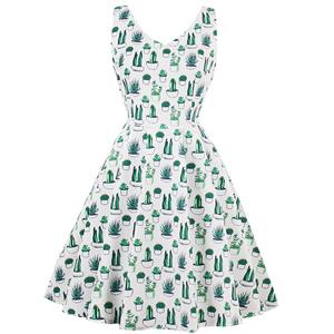 Vintage Dresses for Women, Cocktail Party Dress, Vintage Sleeveless Tank Dresses, A-line Cocktail Party Swing Dresses, Floral Print Vintage Dress, V Neck Vintage Dress, #N14988