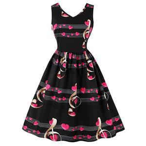 Vintage Dresses for Women, Cocktail Party Dress, Vintage Sleeveless Tank Dresses, A-line Cocktail Party Swing Dresses, Floral Print Vintage Dress, V Neck Vintage Dress, #N15787