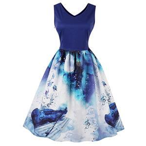 Vintage Dresses for Women, Cocktail Party Dress, Vintage Sleeveless Tank Dresses, A-line Cocktail Party Swing Dresses, 3D Digital Print Vintage Dress, V Neck Vintage Dress, #N15788