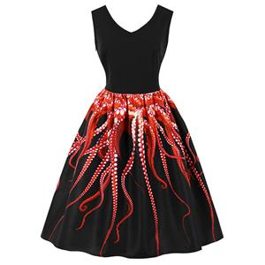 1950s Vintage Tank Dresses, Vintage Dresses for Women, Cocktail Party Dress, Vintage Sleeveless Tank Dresses, A-line Cocktail Party Swing Dresses, 3D Digital Printed Vintage Dress, V Neck Vintage Swing Dress, #N15993