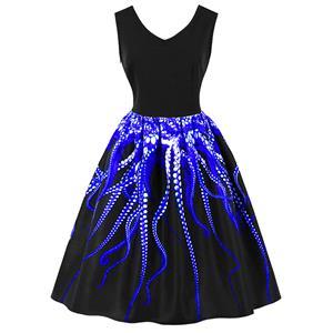 1950s Vintage Tank Dresses, Vintage Dresses for Women, Cocktail Party Dress, Vintage Sleeveless Tank Dresses, A-line Cocktail Party Swing Dresses, 3D Digital Printed Vintage Dress, V Neck Vintage Swing Dress, #N16486