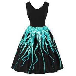 1950s Vintage Tank Dresses, Vintage Dresses for Women, Cocktail Party Dress, Vintage Sleeveless Tank Dresses, A-line Cocktail Party Swing Dresses, 3D Digital Printed Vintage Dress, V Neck Vintage Swing Dress, #N16487