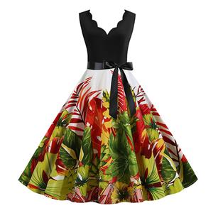 Cute Printed Swing Dress, Retro Printed Dresses for Women 1960, Vintage Dresses 1950