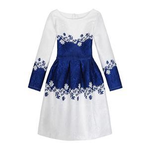 Rose Print Dress, Long Sleeve Dress, Round Collar Dress, Girls Lovely Dress, Vintage Dresses for Girls, Girls Swing Dress, Back Zipper Dress, A-Line Dress, #N15525
