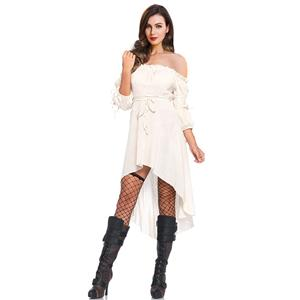 Vampire White Dress, Gothic Dresses for Women, Cocktail Party Dress, Halloween Party Dress, Vintage Half Sleeve Swing Dresses, Sexy Off-shoulder Dresses, Halloween Vampire Dress, Gothic High Low Dress, #N18686