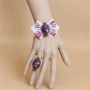 Vintage Bracelet, Vintage Pink Bowknot Purple Rose Bracelet, Cheap Wristband, Gothic White Bracelet, Victorian White Lace Bracelet, Retro White Wristband, Bracelet with Ring, #J18164