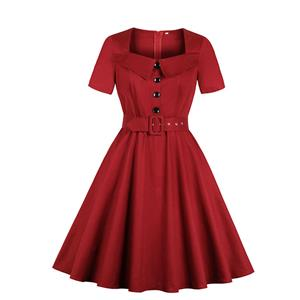 Retro Wine Red Midi Dress, Vintage Dresses for Women, Sexy Dresses for Women Cocktail Party, Vintage High Waist Dress, Short Sleeves Swing Dress, High Waist Short Sleeves Swing Daily Dress, Vintage Wine Red Party Dress, #N18491