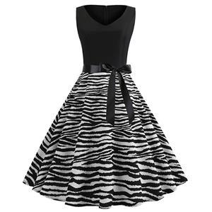 Sexy Zebra Print A-line Swing Dress, Retro Zebra Print Dresses for Women 1960, Vintage Dresses 1950