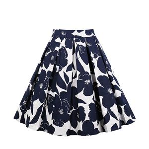 Vintage Blue Floral Print High Waisted Flared Pleated Skirt N18041