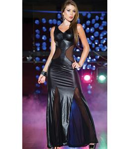 Vinyl and Mesh Long Gown, Sexy Black Gown, Long Vinyl Gown, #N5380