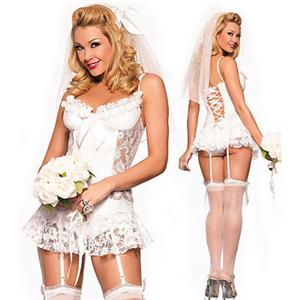 Virgin Bride Costume, Sexy Bridal Lingerie, Honeymoon Lingerie, Bride Costumes, #N2313