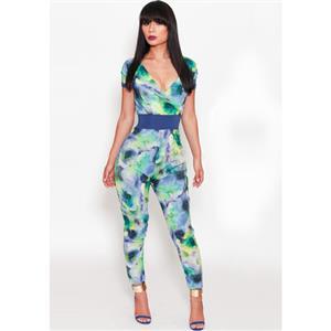Short Sleeve Deep V Neck Jumpsuit, Watercolour Print Sash Playsuit, Empire Waist Watercolour Print Overalls, #N8938