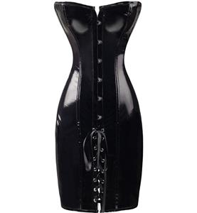 Patent Leather Lace Up Corset Dress, Wetlook Long Corset Partywear, Shiny Leather Corset Dress, #N8597