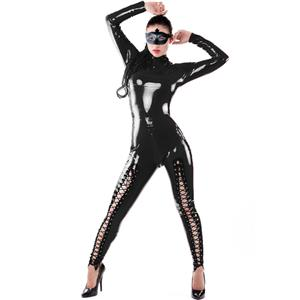 Black Long Sleeve Vinyl Leather Catsuit, Sexy Back to Crotch Zipper Jumpsuit, Black Criss-cross Lacing Up Bodysuit, #N8501