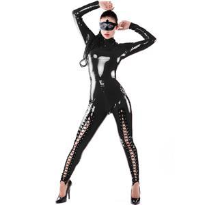Black Long Sleeve Vinyl Leather Catsuit, Sexy Back to Crotch Zipper Jumpsuit, Black Criss-cross Lacing Up Bodysuit, #N8501