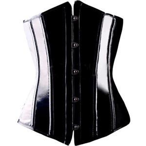 Black Wetlook Underbust Corset, Underbust PVC Leather Corset, Waist Cincher Underbust Corset, #N8610