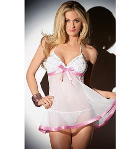 White And Pink Sheer Halter Babydoll N9146