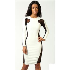 White Long Sleeve Contrast Mesh Yoke Bodycon Dress, White Long Sleeve Dress, #N7649