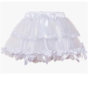 White Bow Petticoat, Sexy Tutus Petticoat, Mesh Layered Petticoat, #HG7895