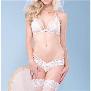 Sexy Lace Lingerie Set, Fashion Lace Panty Set, 2 Piece Lingerie Sets, White Floral Lace Lingerie Set, White Bride Panty Underwear Set, #N17242