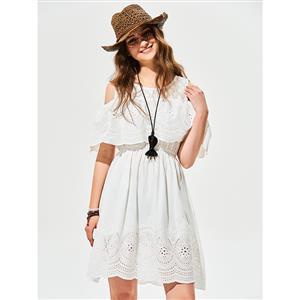 Mini Dresses White, A-line Mini White Dresses, Cold Shoulder Dresses, Half Sleeve Mini Dresses, Sexy White Dresses, Hollow Out A-line Dresses, #N15987