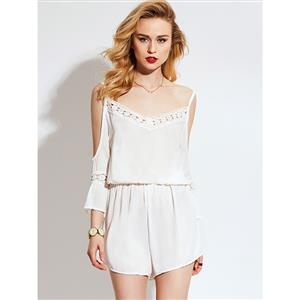 Rompers for Womens, Plain Jumpsuits for Women, Spaghetti Strap Rompers, Sexy V Neck Rompers, Jumpsuit Romper, Fashion Jumpsuit, White Rompers, #N14955