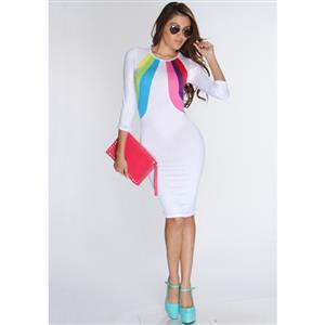White Knee Length Party Dress, Multi Color Block Midi Dress, Rainbow Bodycon Casual Dress, #N8659