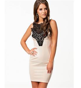 Elegant Dress with Crochet, Sleeveless Embroidered Casual Dress, White Crochet bodycon Dress, #N7596