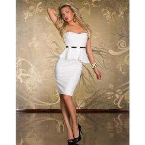 Knee Length Evening Peplum Dress, Off-the-shoulder White Peplum Midi Dress, Wrap Chest Halter Cocktail Dress, #N8682