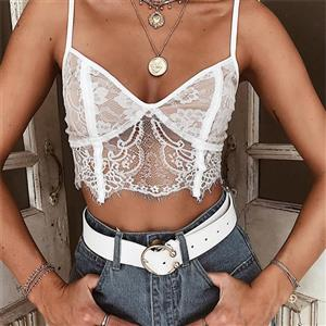 Sexy Eyelash Lace Lingerie Bra, Sexy White Hollow Out Bra, Fashion Wireless Bra Top, Valentine