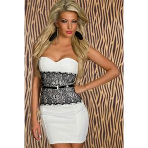 Lace Waistband Bodycon Dress, Strapless Eyelash Waist Dress, White Eyelash Waist  Dress with Belt, #N7782
