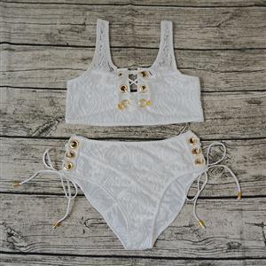 Sexy Lace Lingerie Set, Fashion Bra Set, 2 Piece Lingerie Sets, Lace Bra Set Lingerie, White Bra and Panty Underwear Set, Lace Up Bra Set, #N15277